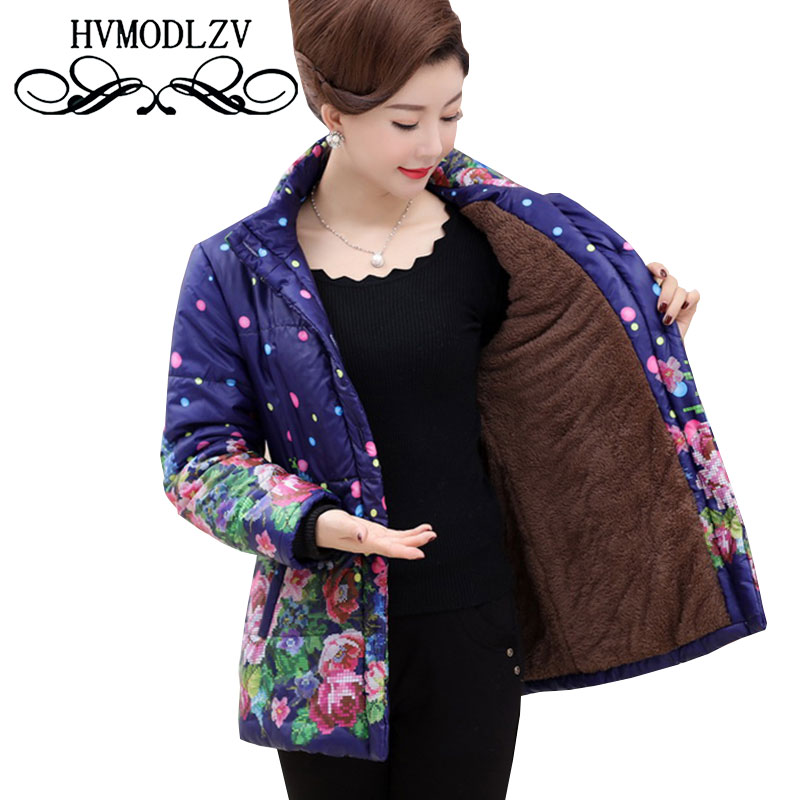 Elderly Women Cotton Jacket 2017 Winter Mushi Thicker Warm Printed Cotton Jacket Women Casual High Quality Cotton Coat ls355 2017 60 year old 70 grandmother jacket in the elderly mothers installed women s winter 80 elderly lady down jacket