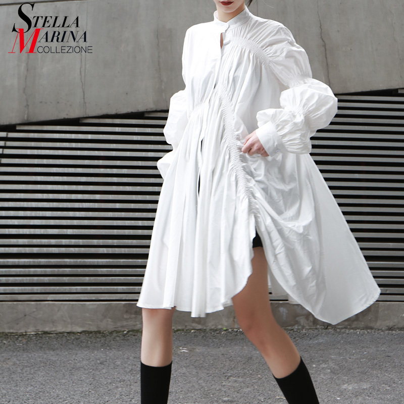 2019 Korean Style Women Autumn White Pleated Shirt Dress Long Lantern Sleeve Plus Size Lady Loose Midi Party Club Dresses 9004