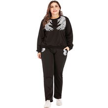 WHZHM Autumn Plus Size 3XL 4XL Sets Women Loose Long sleeve Casual Printed Hoodie Set Women Two Piece Outfits Tops and Long Pant