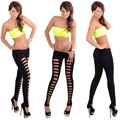2017 New Fashion Women Ripped Leggings Stretch Black Dancing Pant Elastic Wait Sexy Hollow Hole Punk Rock Ripped Pants Jeggings