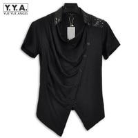 Fashion Mens Slim Fit Short Sleeve T Shirts Korean Casual Shirts Punk Rivet Stud Mens Tops