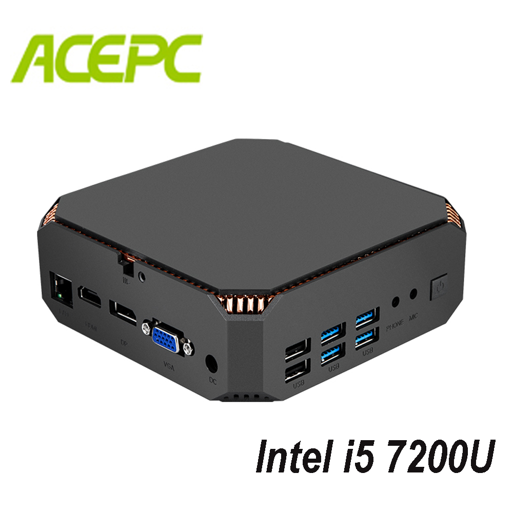 Fanless Mini PC i5 Kaby Lake CPU Intel Core i5 7200U 2 cores 4 threads 2.5GHZ Dual Brand WIFI Windows Mini Computer Desktop PC-in Mini PC from Computer & Office