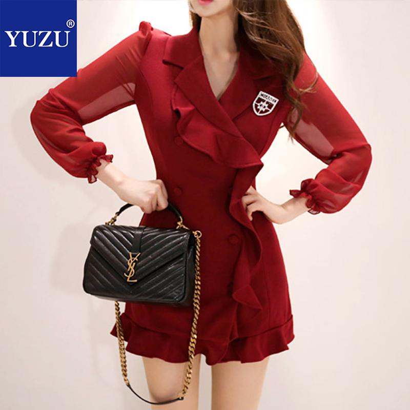 b92b2866d596 Vintage Women Clothes 2018 Fall Ruffle Dress Burgundy Red Black Long Sleeve  Double-breasted V