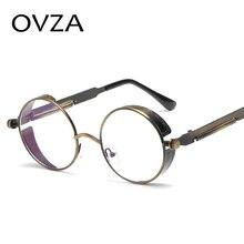 a0502536d2 OVZA Retro Steampunk gafas de hombre ronda las mujeres anteojos Vintage  marco óptico de Metal de estilo gótico S5036