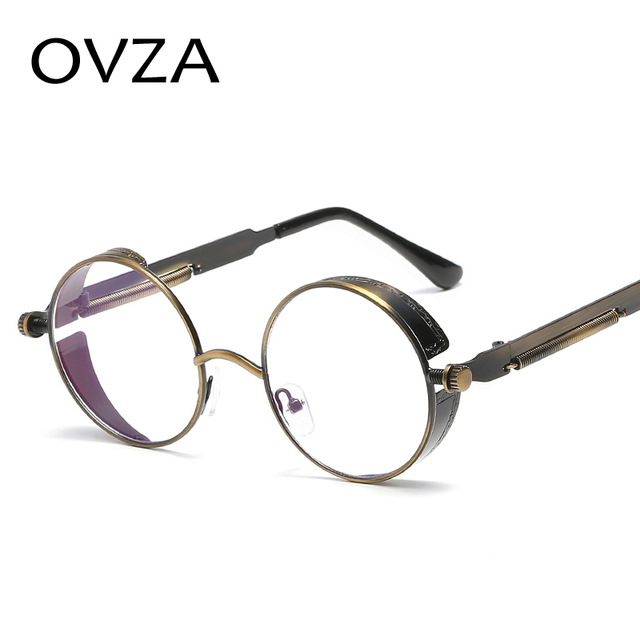 c753f904cd OVZA Retro Steampunk Goggles Glasses Frames Mens Round Women Eyeglasses  Vintage Optical Frame Metal Gothic Style
