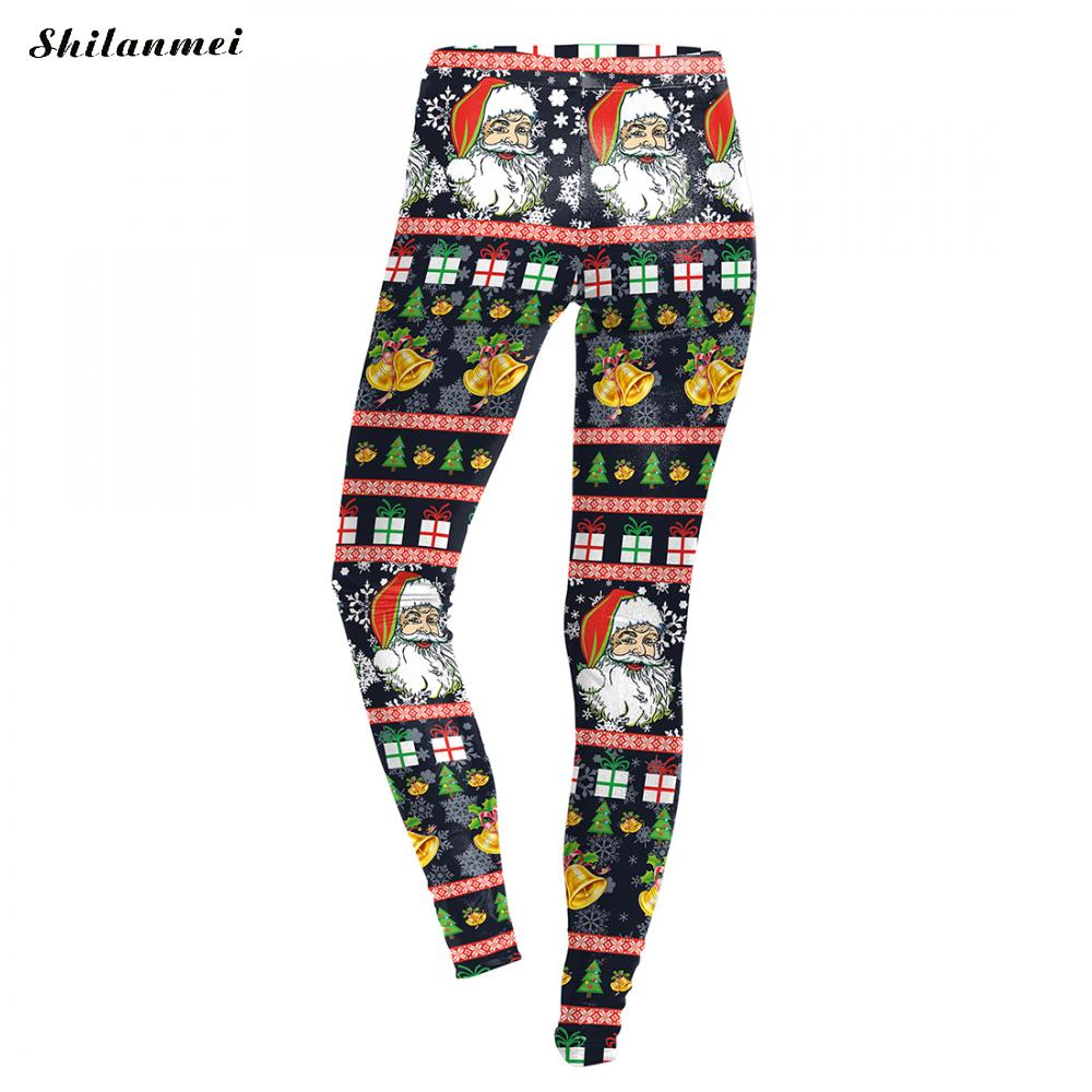 Marry Christmas Leggings Women Workout Autumn Fitness 3D Print Xmas Leggins Women Santa Claus Aztec Pants Skinny Slim Leggings ...