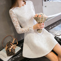 Pink All Lace Dresses 2017 Women Fashion Elegant Hollow Floral Lace Long Sleeve Spring Mini Fits Flared Dress