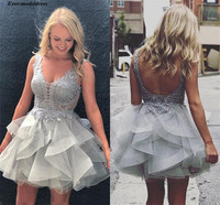 Chic Grey Short Graduation Dresses Deep V Neck Sleeveless Lace Appliques Backless Illusion Formal Homecoming Party Gowns Robes