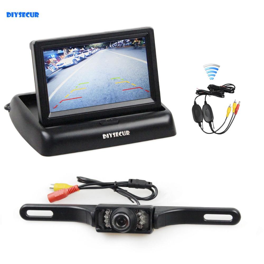 DIYSECUR Sans Fil 4.3 Pouces Voiture Caméra de Recul par Kit de Moniteur De Voiture LCD Affichage HD Vue Arrière de Voiture Caméra de Stationnement système