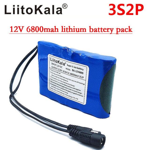 Liitokala Portable Super Rechargeable Lithium Ion battery pack capacity DC 12V 6800Mah CCTV Cam Monitor