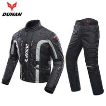 DUHAN Kurtki Motocyklowe Zestawy Wiatroszczelna Kurtka + Spodnie Zestaw Odzieży Ochronnej Hip Protector Jazda Garnitur Spodnie Motocyklowe Moto Kurtka