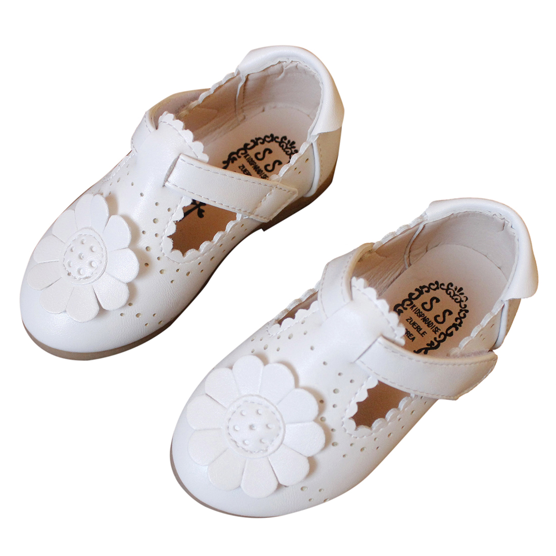 Kids Autumn Spring Fashion Flower Shoes For Girl Leather Solid Hollow Casual Pretty Girls Shoes(White,Size:25) ...