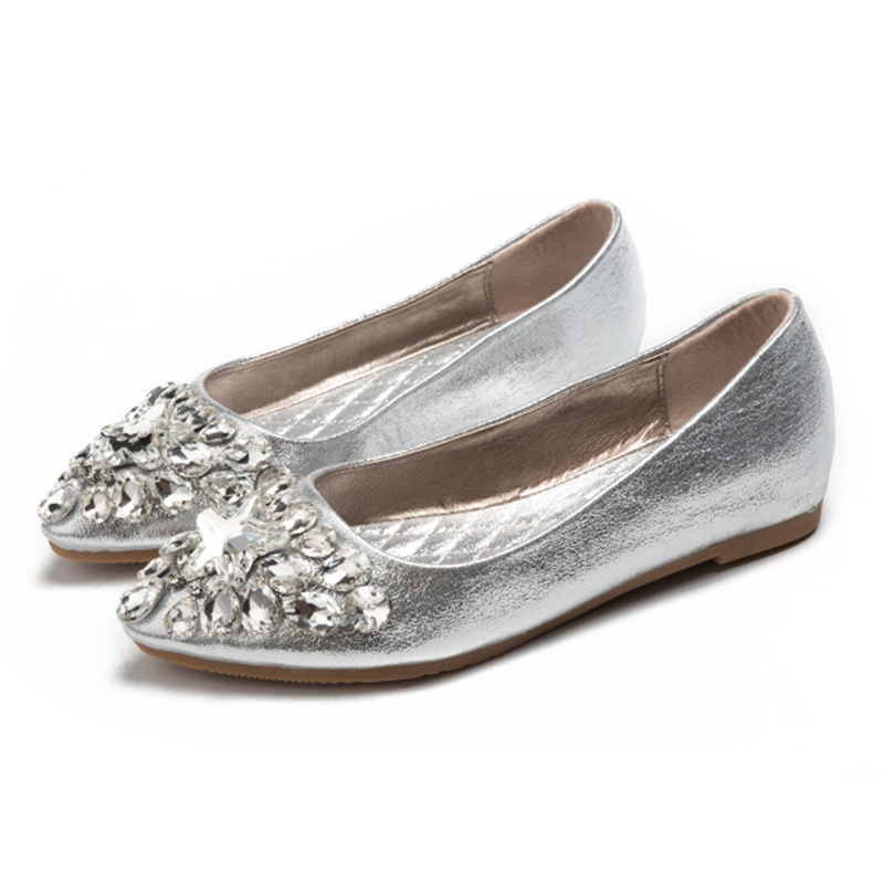 Women's Shoes Diamond Flats 2017 Spring Fashion New Pointed Toe Shallow Mouth Boat Shoes Gold Silver Ladies Flat Shoes 2017 new fashion spring ladies pointed toe shoes woman flats crystal diamond silver wedding shoes for bridal plus size hot sale