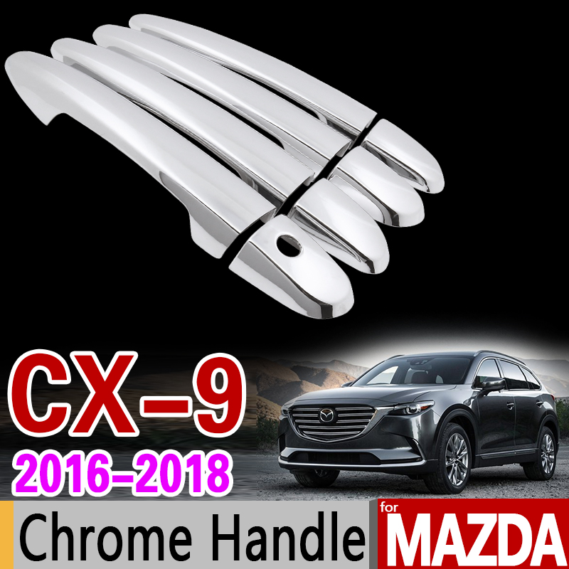 for Mazda CX-9 2016 2017 2018 Luxurious Chrome Door Handle Cover Trim Set CX9 CX 9 MK2 Car Accessories Stickers Car Styling for renault captur luxurious chrome door handle covers accessories stickers car styling 2013 2014 2015 2016