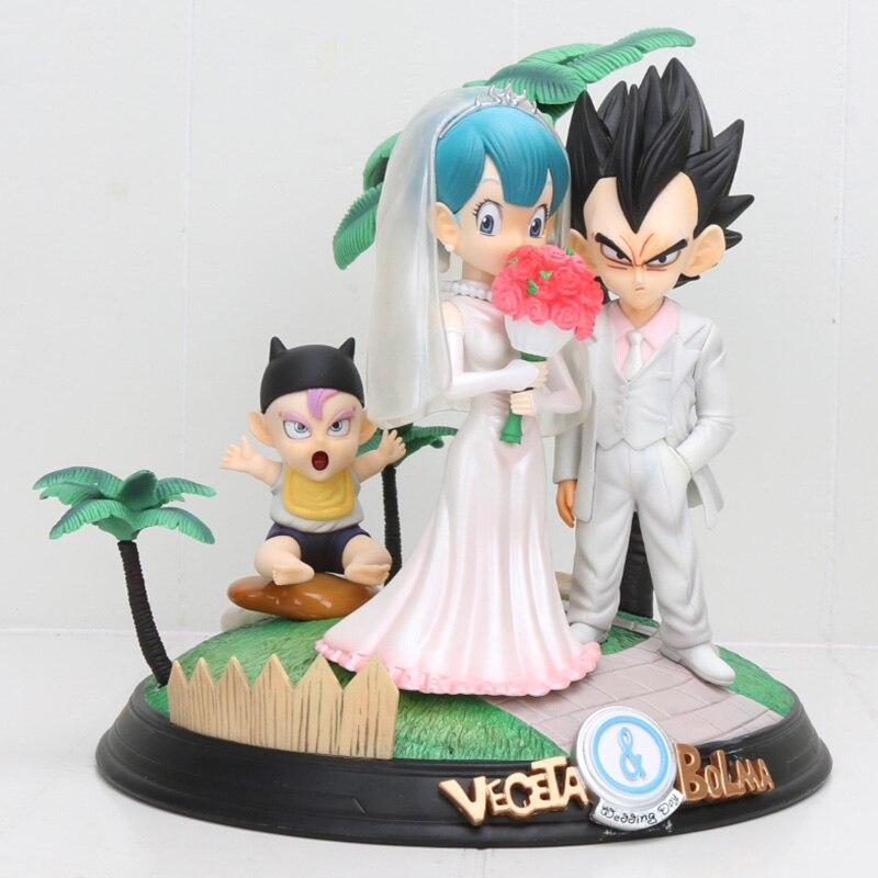 20 cm Anime Dragon Ball Z végéta & Bulma bébé troncs jour de mariage végéta famille Figure modèle jouets