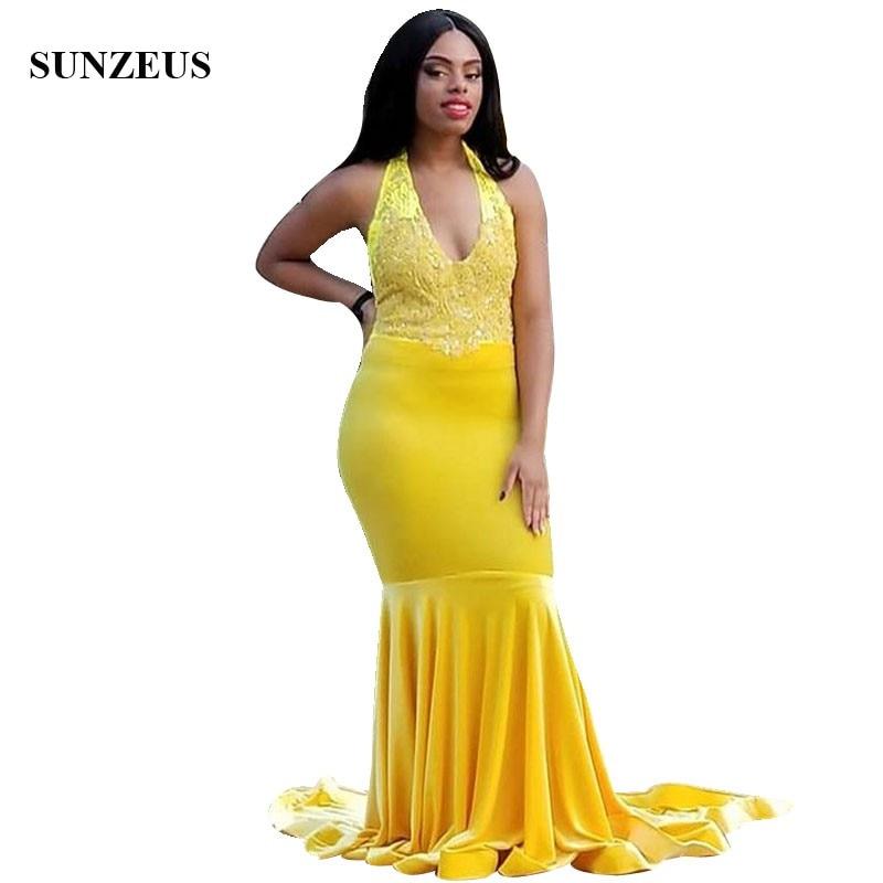 Mermaid Halter Neck Yellow   Prom     Dress   V-neck Appliques Beaded Long Velour Party Gowns vestidos de formatura noite