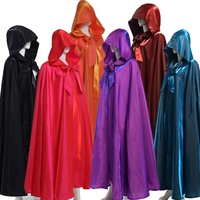 Medieval Cape Women Men Adult Long Gothic Hood Red Black Cloak Heroic Witchcraft Wicca Robe Halloween Costume