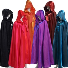 Halloween Cloak Women Men Adult Long Gothic Hood Red Black Heroic Witchcraft Wicca Robe Medieval Cape