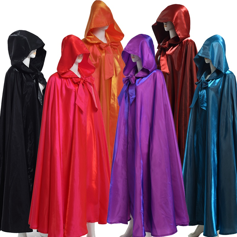 Women Men Adult Long Gothic Cape Hood Red Black Cloak Medieval Heroic Witchcraft Wicca Robe Halloween Costume