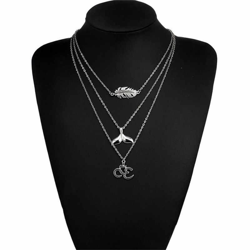 RAVIMOUR Trang Sức Ấn Độ Vintage Chains Necklaces cho Phụ Nữ Bạc Colar Đuôi Cá Feather Mặt Dây Boho Choker Phụ Kiện Mùa Hè