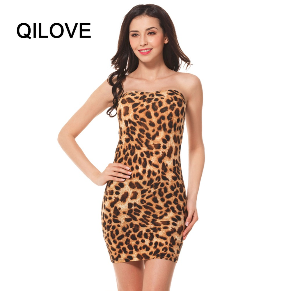 sexy leopard print club party dresses 2017 women strapless