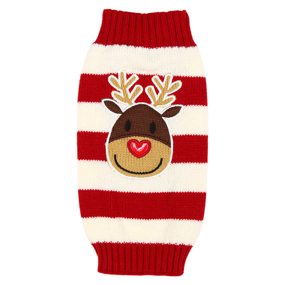 1Pcs Xmas Reindeer Elk Stripe Design Dog Clothes Christmas Sweater Puppy Sweater Pet Dogs Cats Clothing Chandail Noel Pour Chien