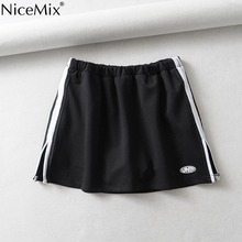 NiceMix 2019 American Style Women Elastic Waist Skirts  Contrast Side White Stripe Casual Runner Soft Patchwork New Black Skirts