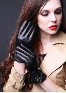 Image 2 - 2019 N Leather Gloves Ladies Autumn Winter Thick Plus Warm 100%Sheepskin Gloves Driving Riding Lambskin Gloves Women TBWA593