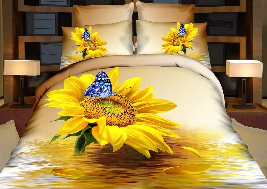 Cotton Butterfly Sunflowers 3D Bedding set Doule/Queen King Size For Kids Adults Boho Duvet Cover Set Bed sheet Pillowcase SetCotton Butterfly Sunflowers 3D Bedding set Doule/Queen King Size For Kids Adults Boho Duvet Cover Set Bed sheet Pillowcase Set
