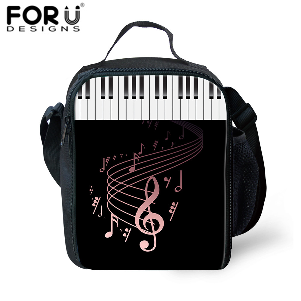 FORUDESIGNS Lunch Bag For Kids DJ Music Notes Print Lunchbox Sac Thermal School Insulated Lunch Bag For Children School Girl Boy