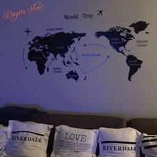 Creative New Design World Map Removable Map Of The World Wall Sticcker For Home Decor