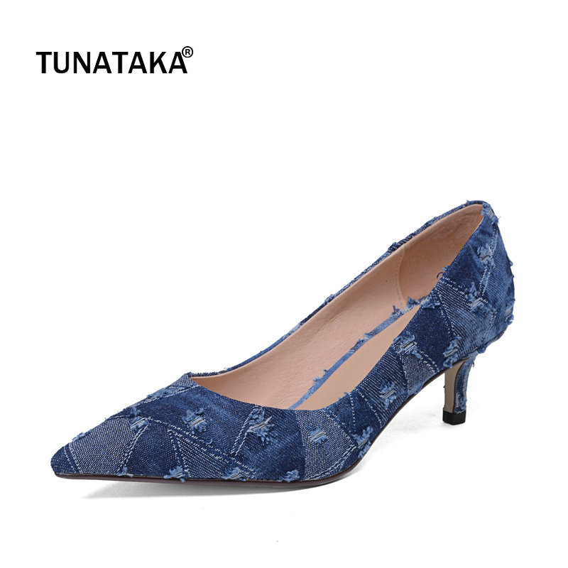 Denim Woman Lazy Pumps Fashion Thin High Heel Pointed Toe Dress High Heel Shoes Woman Genuine Leather Inside Blue newest solid flock high heel pumps woman