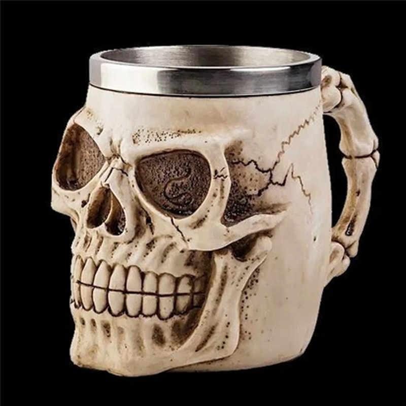 Прохладный реалистичный Скелет инопланетян смолы кофе питьевой воды чашки череп голова Танкард ужас нержавеющая сталь посуда для напитков 1 шт. 2017