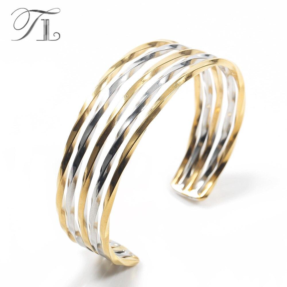 TL Zwei-Ton Twist Draht Armreif Armband Für Frauen Multilayer Breite Armbänder Big Armband Edelstahl Einstellbare Twisted Armreifen