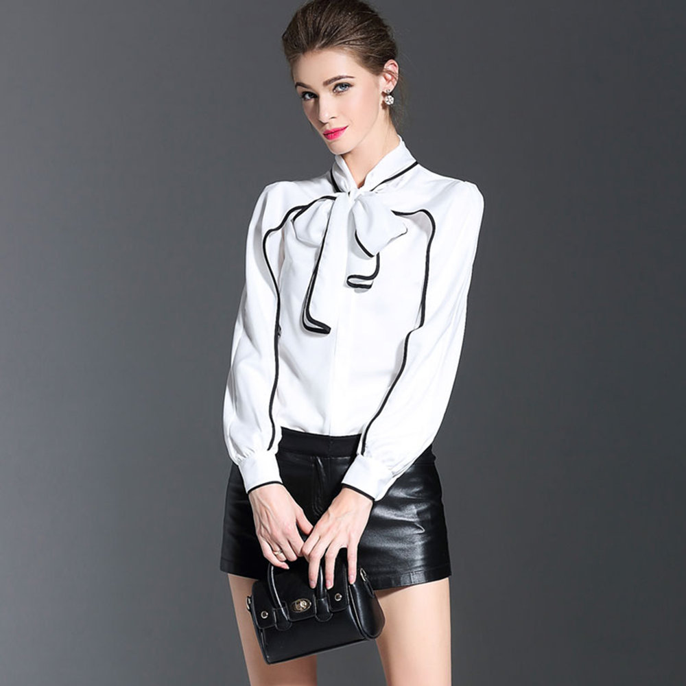 686cc4d607 Miss FoFo 2018 New Fashion Body Shirt Women Shirt Casual Blouse Bow  Bodysuit Full Office Lady Coat Blouse Black White Size S XXL-in Blouses    Shirts from ...