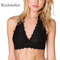 Richkoko 2017 New Fashion Women Black White Lace Sexy Push Up Bralette Semi-sheer Underwear Print Flower Trim Soft Hlater Bras