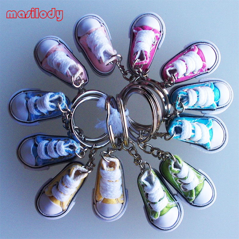 33208945367eff 100pcs Lot Mixed Mini Canvas Sneaker Shoes keychain Cute Gifts Shoe  Keychain Tennis Sport Shoes