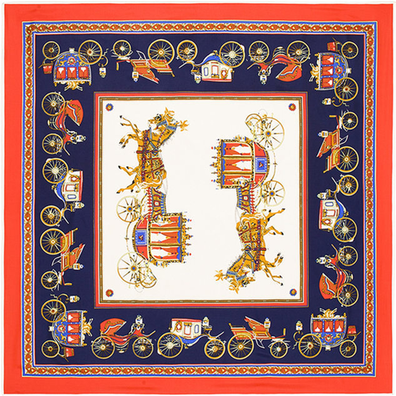 Twill Silk Scarf Women Euro Brand Horse Carriage Print Square Scarves High Quality Women Gift Fashion Super Large Scarves Shawl