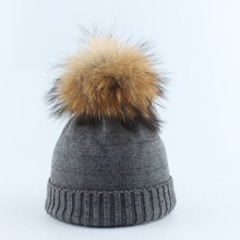 Mink Fur Ball Cap Pom Poms Winter Hat For Women Girl 's hat knitted beanies cap new thick Soft female cap цена