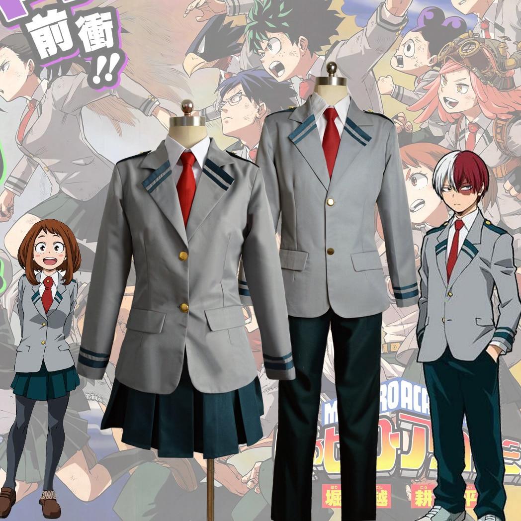 Anime Boku no Hero Academia School Uniform Suit My Hero Academia Midoriya Izuku Bakugou Katsuki Uraraka Ochako Cosplay Costumes hoodie