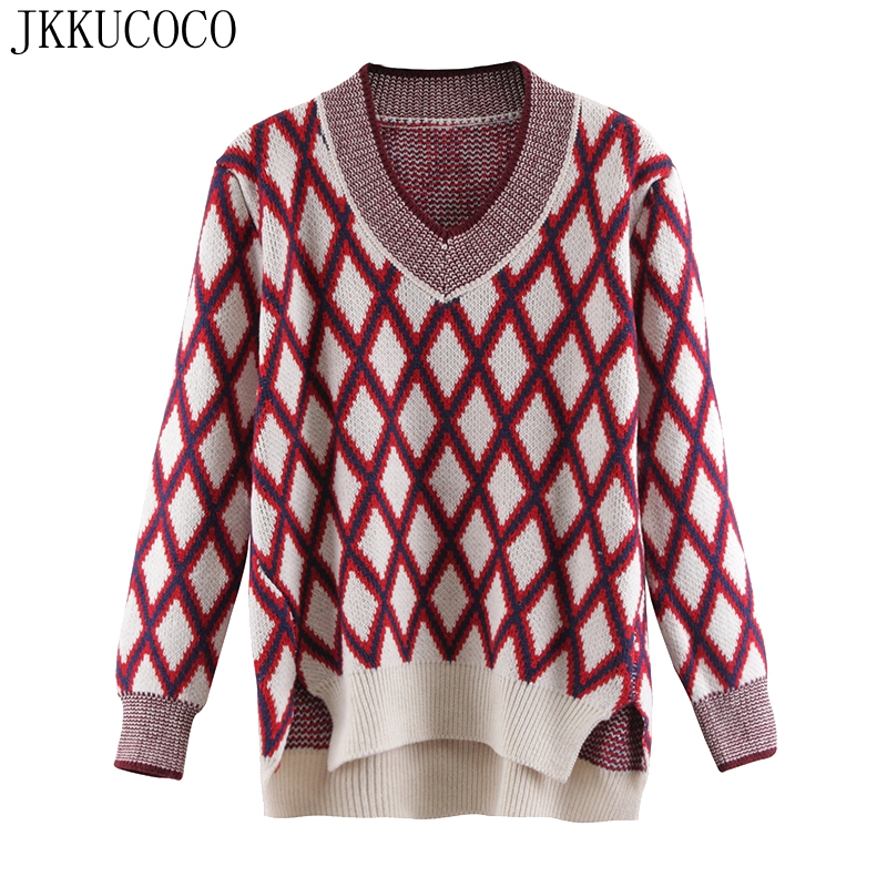 JKKUCOCO Newest Women Sweater mix Color V neck Plaid Pullovers Women sweaters Hot Sell Loose Winter
