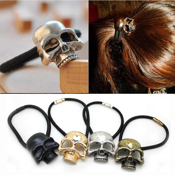 4pcs/lot Halloween Gothic Fashion Skull Scrunchies For Women Hair Accessoires For Girl Metal Skull Hair Bands Elastic HeadBands