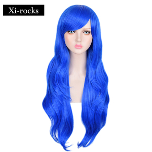 3016 Xi.rocks Wendy Marvell Cosplay synthetic  Fairy Series  Anime Blue 31inch Long Straight Hair Halloween Costume Wavy Wig