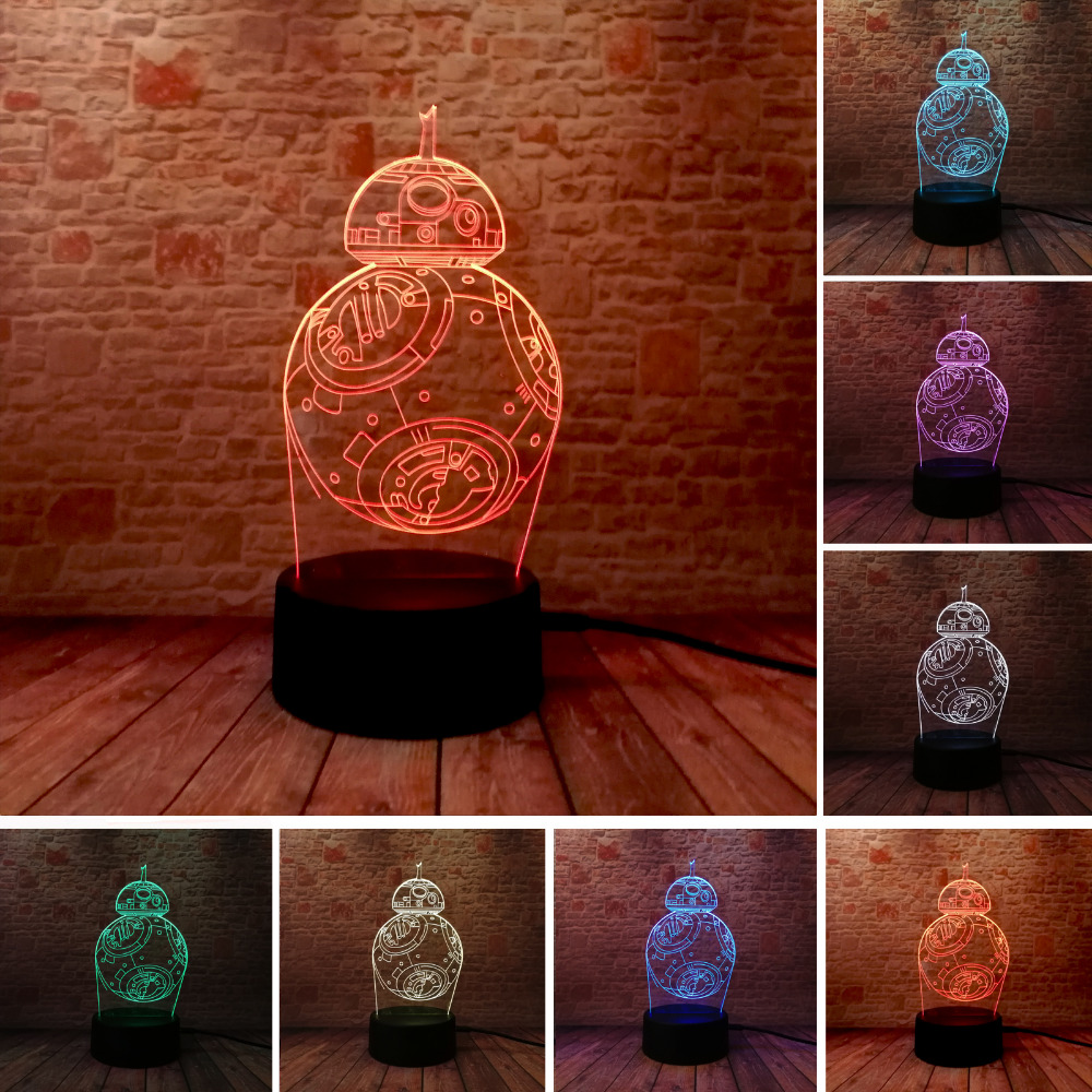 Star War BB 3D USB Led Night Light 7 Color Changing Christmas Mood Touch Kid/Children Living/Bedroom Table/Desk Lamp Lighting free shipping 7 color changing glowing cartoon spongebob patrick star acrylic 3d led night light usb 3d led table lamps