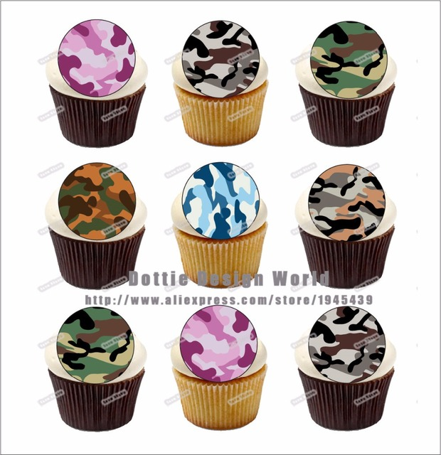 24 Army Camouflage Edible cake topper wafer rice paper Military
