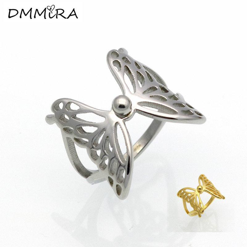 Hot Sale Fashion Women Gold Silver Wings Stainless Steel Animal Butterfly Wings Hollow Finger Ring Jewelry For Christmas Gift mariposa en plata anillo