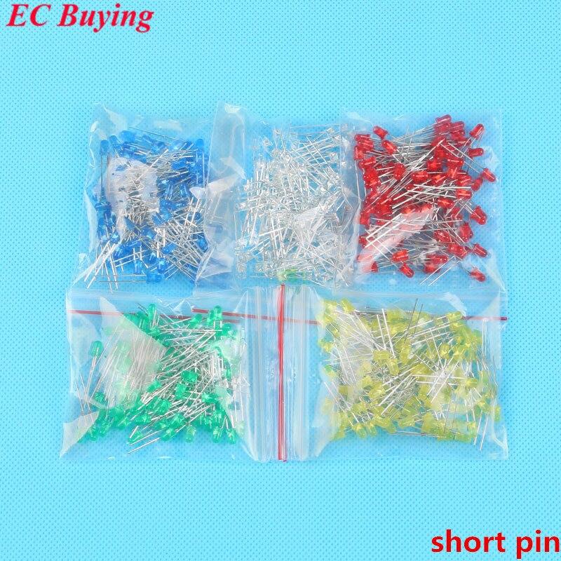 Diodo Assorted Kit Faça Você Mesmo Leds Conjunto Misto Cor Vermelho Verde Azul Amarelo Branco Longo Pino ou Curto 500 Pcs 3mm Led