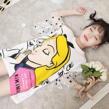 Summer Girls Dress Korean Fashion Cartoon Print Short-sleeve Dress Female Baby Bohemian Mesh Skirt Baby Girl Christmas Dress недорого
