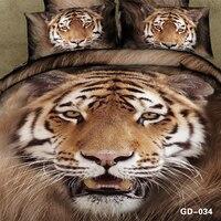 3D Tiger yatak setleri yatak örtüsü yorgan nevresim cal kral boyutu kraliçe duoble hayvan baskı donatılmış pamuk çarşaf keten 5 adet