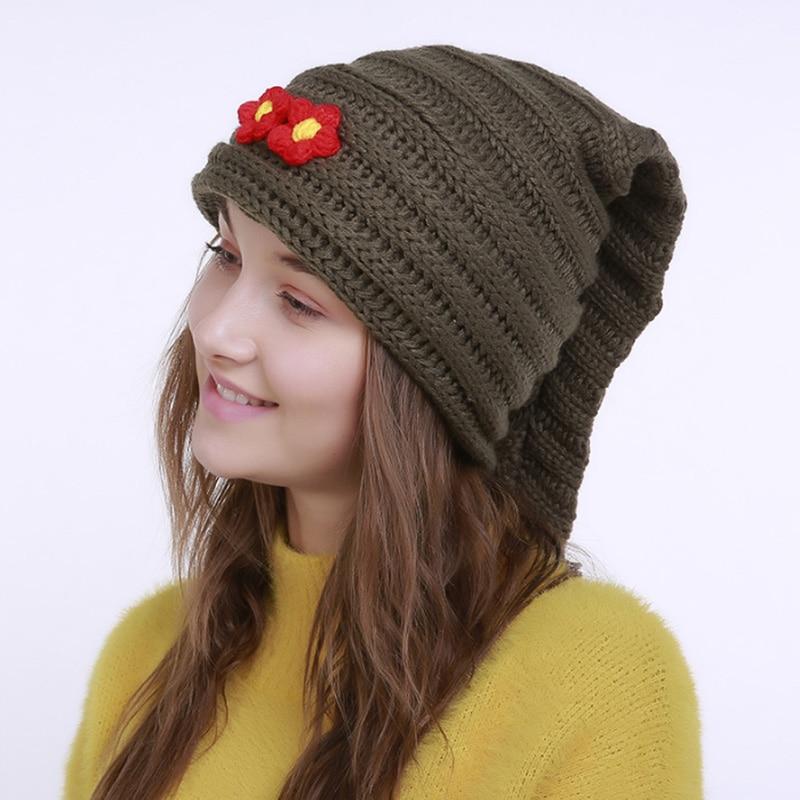 Brand Women's Knit Beanies Trendy Crochet Warm Hats for Girls Flowers Decor Thick Thermal Cap Skullies